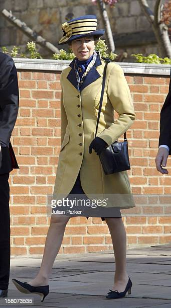 Princess Anne Attends An Easter Service At St George'S Chapel, Windsor Castle. .