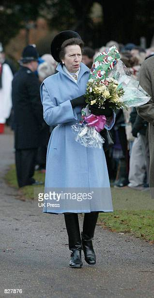Princess Anne attends the Christmas Day service at Sandringham Church December 25 2001 in Norfolk England