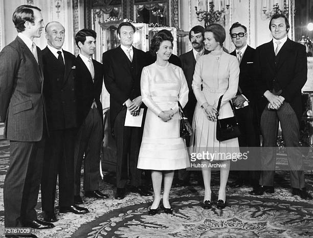 Princess Anne, Captain Mark Phillips and Queen Elizabeth with a group of guests including Inspector James Beaton, journalist Brian McConnell and...