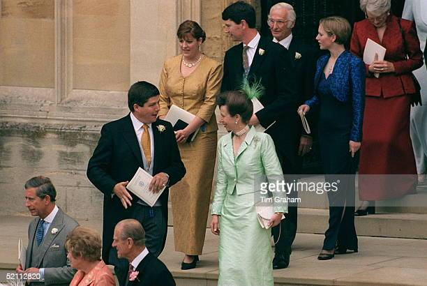 Princess Anne Chatting To David Rhysjones Followed By Tim Laurence And Zara Phillips At The Wedding Of Prince Edward To Sophie Rhysjones Windsor