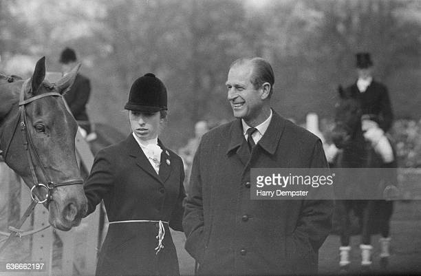 Princess Anne competes in the Badminton Horse Trials, UK, 26th April 1971. Here she is pictured with her father, the Duke of Edinburgh.