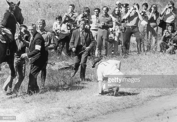 Princess Anne gets to her feet after falling from her horse Goodwill at the second obstacle of the crosscountry section of the European ThreeDay...
