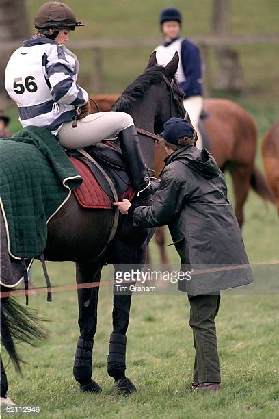 Princess Anne Helping Her Daughter Zara During Horse Trials In The Cotswolds