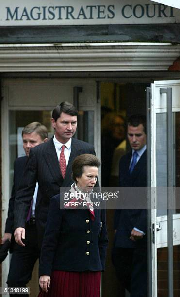 Princess Anne ,her husband Commander Tim Lawrence and son Peter Phillips leaves the courthouse in Slough after a Magistrates hearing , 21 November...
