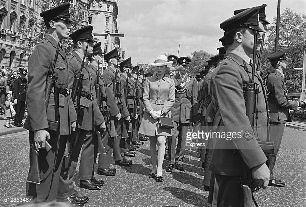 Princess Anne inspects guards during her visit to the Festival of London Stores Parade London 26th May 1969