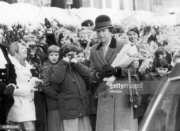 Princess Anne is greeted by well wishers during her walkabout in Saltburn. 21st February 1986.