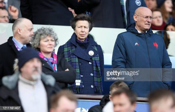 Princess Anne is seen in the stands next to Bernard Laporte, president of the French Rugby federation prior to the 2020 Guinness Six Nations match...
