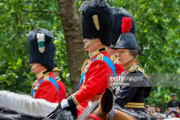 Princess Anne is seen making her way to the Horse Guards Parade during the Trooping the Colour ceremony which marks the 93rd birthday of Queen...