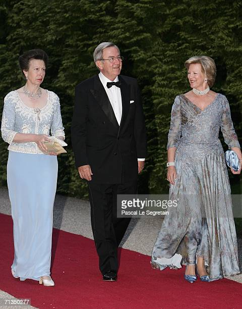 Princess Anne , King Constantin of Greece and Queen Anne-Marie of Greece pose as they arrive to attend a royal dinner that is part of the Grand Duke...