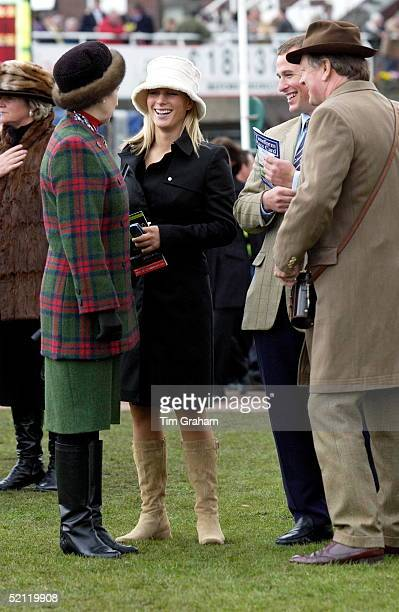 Princess Anne Laughing With Her Daughter Zara Phillips Son Peter And Andrew Parkerbowles In The Paddock At The National Hunt Festival At Cheltenham...