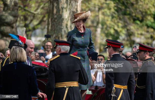Princess Anne leaves after attending a 41 Royal gun salute to mark the 93rd birthday of Queen Elizabeth II at Hyde Park on April 22 2019 in London...