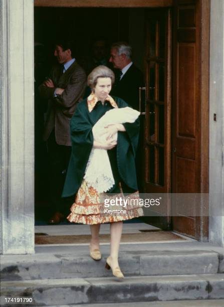 Princess Anne leaves St Mary's Hospital, Paddington, with her three day-old baby daughter, Zara Phillips, London, 18th May 1981.
