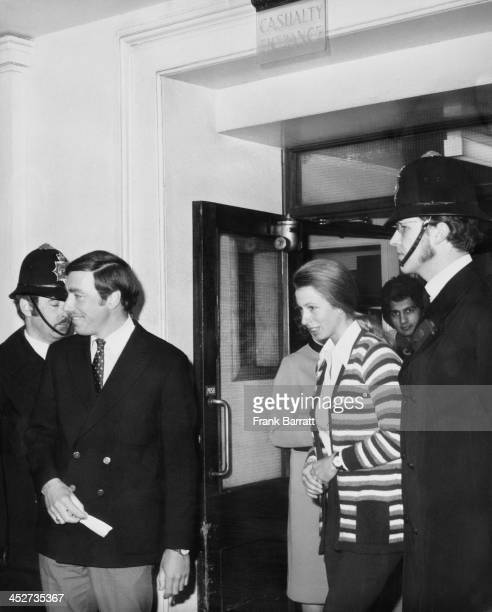 Princess Anne leaving St George's Hospital London, after visiting journalist Brian McConnell and police officer Michael Hills, 25th March 1974. Both...