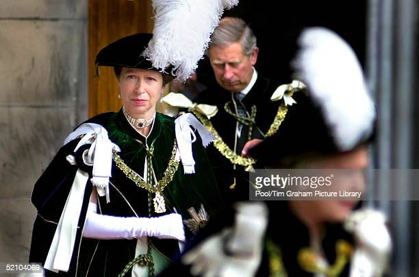 Princess Anne Leaving St Giles Cathedral Where She Was Installed As A Royal Lady And Knight Of The Order Of The Thistle