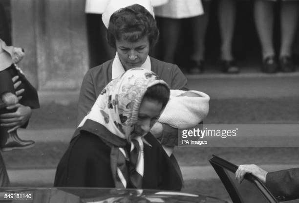 Princess Anne leaving the Lindo Wing of St Mary's Hospital, Paddington, with her two-day-old son Peter Phillips, who is carried by midwife Delphine...