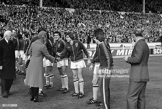 HRH Princess Anne meets Frank Carrodus of Aston Villa prior to the League Cup Final at Wembley Stadium in London 12th March 1977 The match ended in a...