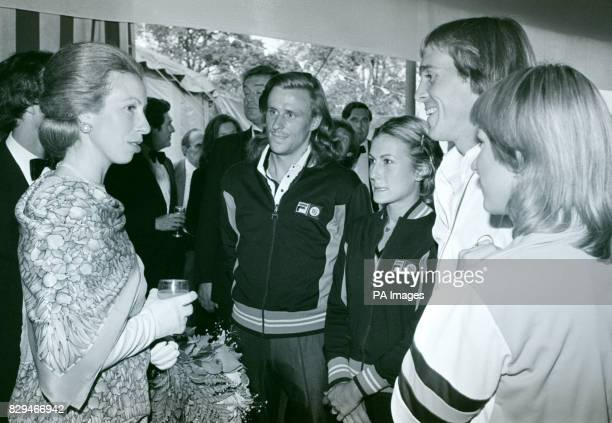 Princess Anne meets Swedish tennis ace Bjorn Borg and his fiancee Mariana Simionescu along with Britain's John Lloyd and his wife the former Chris...