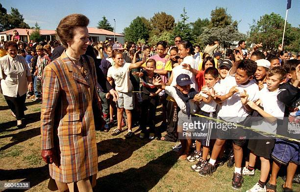 Princess Anne meets the local children at the Huntly Family Service Centre on her walkabout during her day in the Waikato before heading to...