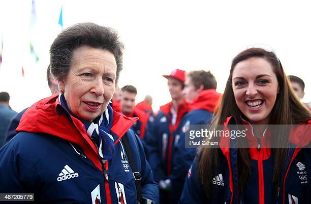 Princess Anne of Great Britain and pole vaulter and figure skater Jenna McCorkell of Great Britain meet ahead of the Sochi 2014 Winter Olympics at...