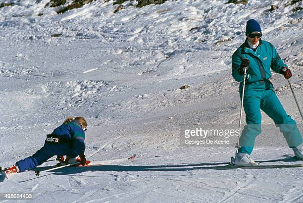 Princess Anne on a skiing holiday with her daughter Zara Phillips Morzine France 3rd January 1989