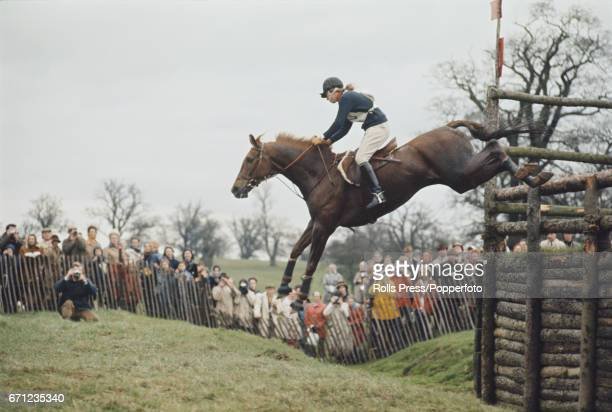 Princess Anne pictured clearing a fence on her horse 'Doublet' during competition to finish in 5th place at the Badminton horse trials in...