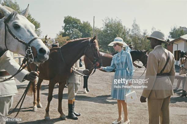 Princess Anne pictured feeding sugar lumps to a horse during a visit to the royal stables in Addis Ababa Ethiopia in February 1973