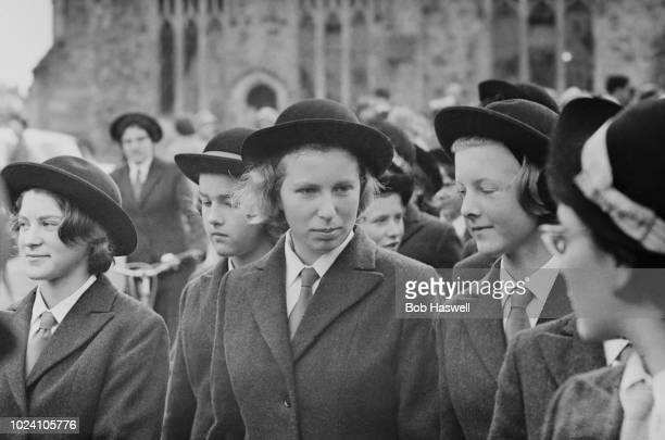Princess Anne pictured in centre with fellow pupils during her first term at Benenden School for girls in Kent, England on 23rd September 1963.
