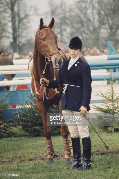 Princess Anne pictured with her horse 'Doublet' during competition to finish in 5th place at the Badminton horse trials in Gloucestershire England on...