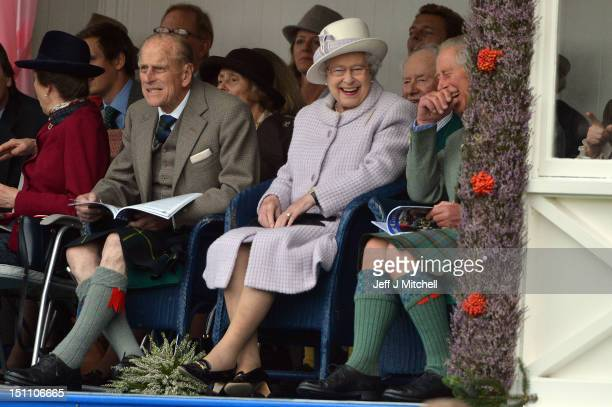 Princess Anne Prince Philip Duke of Edinburgh Queen Elizabeth II and Prince Charles attend the Braemar Highland Games at The Princess Royal and Duke...