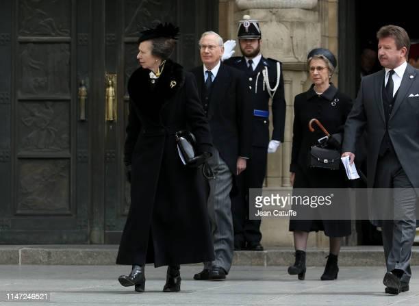 Princess Anne Prince Richard Duke of Gloucester and Duchess of Gloucester Birgitte Eva Windsor leave the funerals of Grand Duke Jean of Luxembourg at...