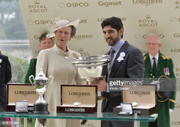 Princess Anne, Prince Royal awards groomer Ameet Tikare during day 1 of Royal Ascot at Ascot Racecourse on June 19, 2018 in Ascot, England.