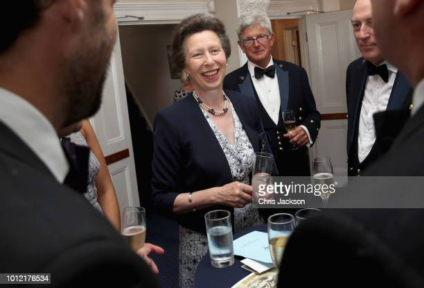 Princess Anne Princess Royal Admiral of the Royal London Yacht Club chats with Young Sailor of the Year Montel Jordan during the Royal London Yacht...