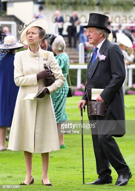 Princess Anne Princess Royal and Andrew Parker Bowles attend Royal Ascot Day 1 at Ascot Racecourse on June 19 2018 in Ascot United Kingdom
