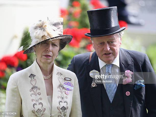 Princess Anne Princess Royal and Andrew Parker Bowles look on in the Parade Ring as she attends Ladies Day on day 3 of Royal Ascot at Ascot...