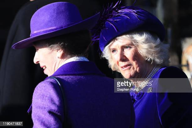 Princess Anne Princess Royal and Camilla Duchess of Cornwall attend the Christmas Day Church service at Church of St Mary Magdalene on the...