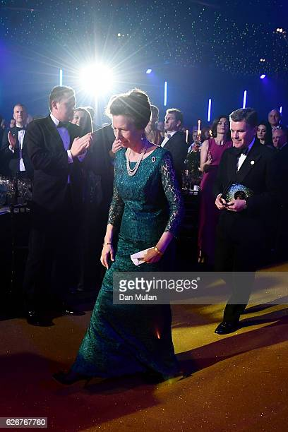 Princess Anne Princess Royal and Chairman of the BOA Sir Hugh Robertson walk up to the stage as they attend the Team GB Ball at Battersea Evolution...