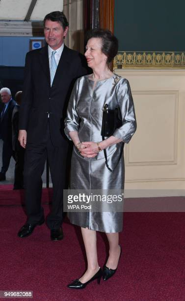 Princess Anne Princess Royal and her husband Vice Admiral Sir Timothy Laurence arrive at the Royal Albert Hall to attend a starstudded concert to...