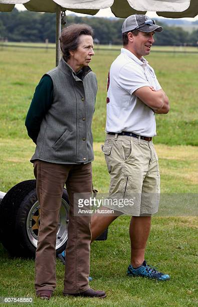 Princess Anne, Princess Royal and her son Peter Phillips attend the Whatley Manor Gatcombe Horse Trials on September 18, 2016 in Minchinhampton,...