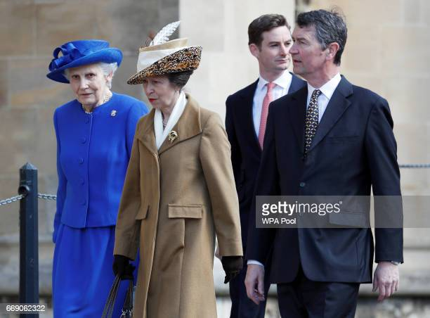 Princess Anne, Princess Royal and husband Timothy Laurence leave the Easter Day service at St George's Chapel on April 16, 2017 in Windsor, England.
