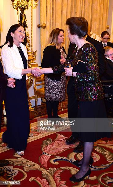 Princess Anne Princess Royal and Jane Hawking attending a reception and dinner in support of Motor Neurone Disease Association at Buckingham Palace...