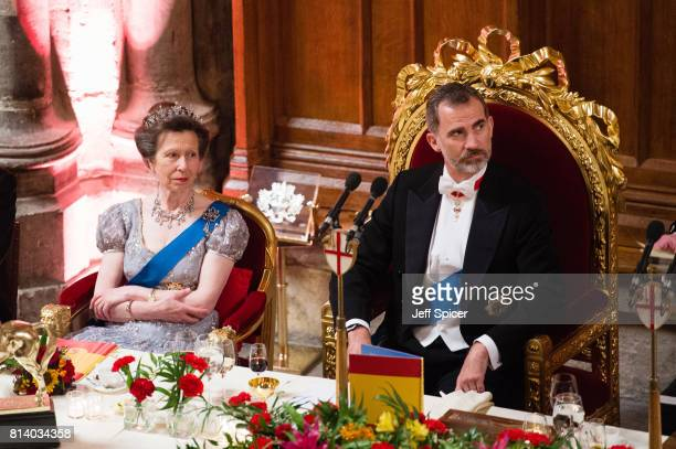 Princess Anne Princess Royal and King Felipe VI of Spain attend a banquet at the Guildhall during a State visit by the King and Queen of Spain on...