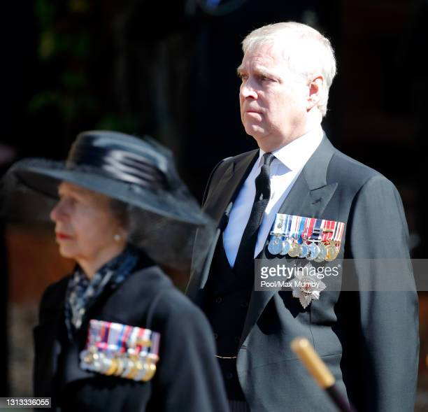 Princess Anne, Princess Royal and Prince Andrew, Duke of York attend the funeral of Prince Philip, Duke of Edinburgh at St. George's Chapel, Windsor...