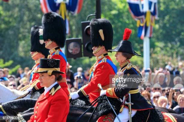 Princess Anne Princess Royal and Prince Andrew Duke of York attend the celebration of the Queen's birthday called Trooping The Colour on June 9 2018...