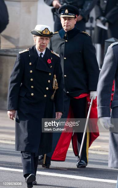 Princess Anne, Princess Royal and Prince Edward, Earl of Wessex attend the annual Remembrance Sunday memorial at The Cenotaph on November 8, 2020 in...
