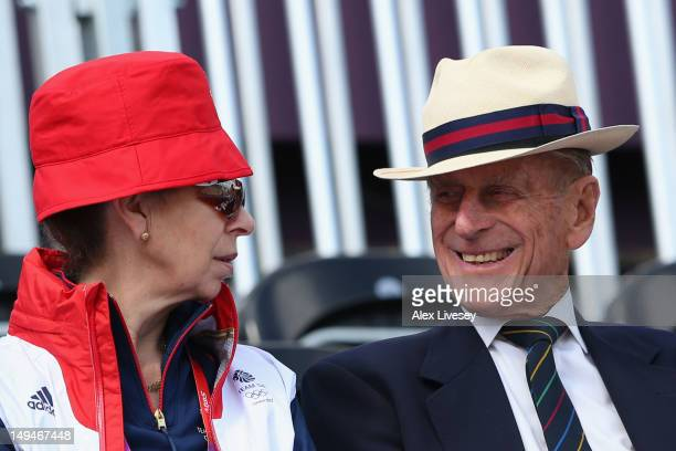 Princess Anne Princess Royal and Prince Philip Duke of Edinburgh smile on Day 2 of the London 2012 Olympic Games at Greenwich Park on July 29 2012 in...