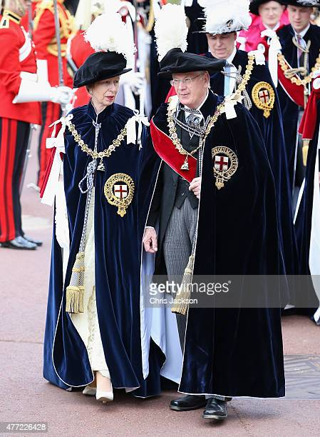 Princess Anne Princess Royal and Prince Richard Duke of Gloucester attend the Order of the Garter Service at St George's Chapel at Windsor Castle on...