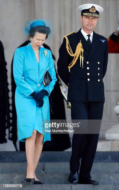 Princess Anne, Princess Royal and Rear Admiral Timothy Laurence attend a service of thanksgiving at St Paul's Cathedral to mark Queen Elizabeth II's...