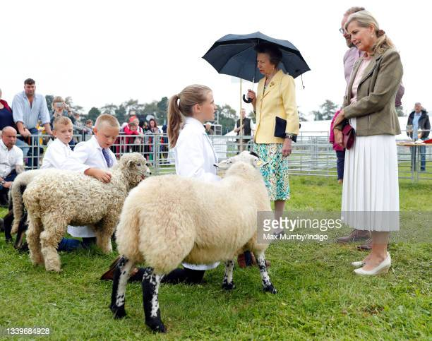 Princess Anne, Princess Royal and Sophie, Countess of Wessex meet young sheep exhibitors as they visit the Westmorland County Show on September 9,...