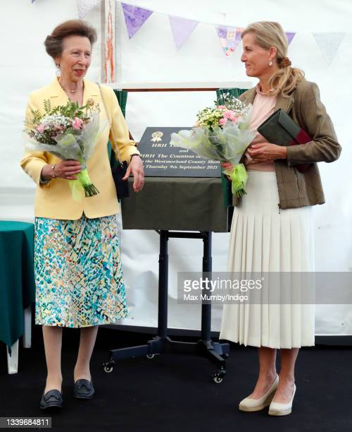 Princess Anne, Princess Royal and Sophie, Countess of Wessex unveil a plaque as she visit the Westmorland County Show on September 9, 2021 in...