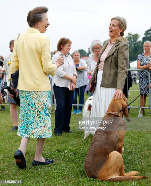 Princess Anne, Princess Royal and Sophie, Countess of Wessex visit the Westmorland County Show on September 9, 2021 in Milnthorpe, England.